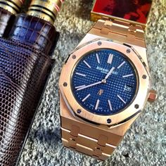 """@WhatUsMenLike: stunning Royal Oak in 18K Pink gold with a Petite Tapisserie"" pattern blue dial and 18K Pink gold bracelet with AP folding clasp. 