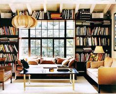 Dream in-home library. But would want comfier seating. I like having a coffee table.I think home libraries should be used for coffee talks or reading :-). Estilo Interior, Home Interior, Interior Livingroom, Interior Architecture, Attic Renovation, Home Libraries, Home And Deco, Sofa Set, Interiores Design