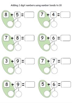 21 Adding 10 to A Number Worksheet Adding 2 digit numbers using number bonds to 10 clasa 0 Math Classroom, Kindergarten Math, Teaching Math, Teaching Ideas, First Grade Math Worksheets, Second Grade Math, Number Bonds Worksheets, Number Bonds To 10, Singapore Math