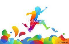 Vector: bambino, saltare, cromoterapia, gioco, giocare