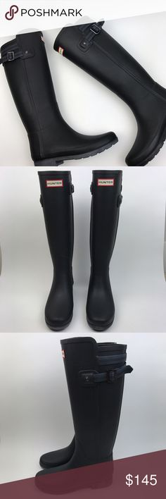 """[Hunter] Original Refined Matte Black Rain Boots 5 Hunter Original Refined Back Strap Rain Boots. Matte black with navy blue stripes on the strap. This style has a more tailored silhouette. Slim leg fit. Thinner rubber. Molded footbed.   🔹Shaft Height: 14"""" in back 15"""" in front 🔹Heel Height: 1"""" 🔹Calf Circumference: 15"""" 🔹Condition: New with box. Box has damage/is only half the box. No top on it. Boots have never been worn. Hunter Boots Shoes Winter & Rain Boots"""