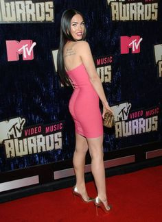 Megan Fox in a Pink Strapless Body Con Dress and High Heels | Celebrity Legs in High Heels