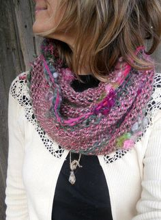 handknit cowl infinity scarf  rustic soft by beautifulplace, $72.00