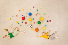 Stock Photo : Children with colorful balls
