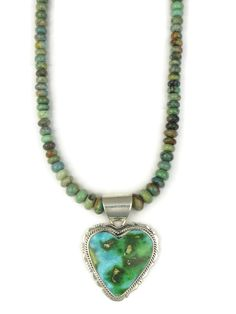 Sonoran Turquoise Heart Necklace by Lucy Valencia Turquoise Heart Necklace, Heart Pendant Necklace, Turquoise Stone, Turquoise Jewelry, Silver Jewelry, Native American Jewelry, Handmade Necklaces, Valencia, Gems