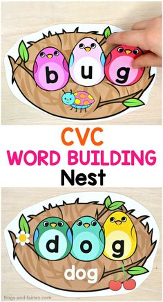 This CVC Word Building Nest printable activity will get your kids excited about their learning!  In this activity the kids will be building 20 different CVC words using colorful birds! #printablesforkids #literacycenters #cvcwords