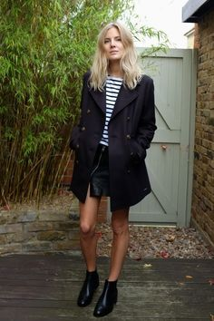 Navy Peacoat. Stripe Tee. Leather Skirt. booties.