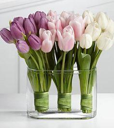 Leuke manier om tulpen neer te zetten.Om de stelen een blad binden en vastzetten met een speld en niet teveel water geven.