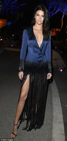 Glam it up in a fringe and glitter gown by Mathieu Mirano like Kendall #DailyMail  Click right to buy now!