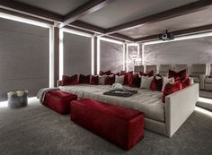 Beautiful Red Media room home movie theater decor with media sofa. Beautiful Red Media room home movie theater decor with media sofa. Home theater design Beautiful Red Media room home movie theater decor with media sofa. Movie Theater Decor, Home Theater Room Design, Home Cinema Room, Home Theater Setup, Home Theater Seating, Home Theater Furniture, Movie Theater Basement, Luxury Movie Theater, Living Room Home Theater