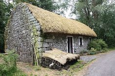 """The cottage has one door and window, Dark, damp and cold in winter as draughts came in the gaps. Heating was difficult due to poverty. This is an example of an old Irish cottage mentioned in """"Exodus from Hell"""", by Patricia Hegarty. The story is about the Irish Famine [1845-47] and the English Invasion. Times were hard and people suffered in hellish times."""