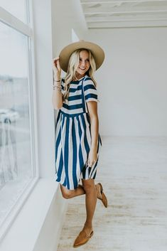Somerset Bib Dress in Navy | ROOLEE
