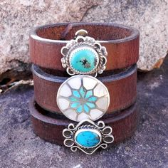 Leather and Turquoise Cuff Bracelet Old Pawn Turquoise and #braceletsfor