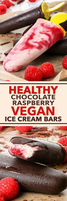 Healthy Chocolate & Raspberry Vegan Ice Cream Bars {gluten, dairy, egg, soy, peanut & ref. sugar free, vegan, paleo} - These vegan ice cream bars are super healthy and insanely delicious at the same time. The easy 2 for 1 recipe includes two ice cream flavours – chocolate and raspberry, both made even prettier with a fetching marbled effect. The chocolate shell is smooth and thick, and gives a satisfying snap when you bite into it. With little to no effort, you can make your own ice cream…