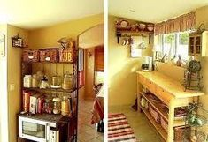 Image result for open plan kitchen ideas for small spaces with mainly shelving for kitchen