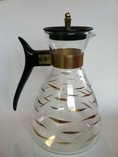 Vintage Pyrex coffee pitcher,1950/1960s. black and gold