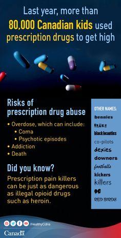 See why prescription drug abuse among teens is a growing concern for Canadian parents.  http://healthycanadians.gc.ca/drug-prevention-drogues/index-eng.php?utm_source=pinterest_hcdns&utm_medium=social_fr&utm_content=oct20_pda&utm_campaign=pida_14