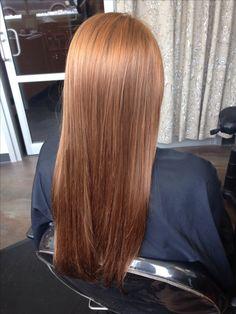 Golden copper hair.