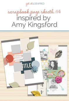 Scrapbook Page Sketch and Template Inspired by Amy Kingsford Scrapbook Sketches, Scrapbook Page Layouts, Scrapbook Paper, Diy Cards, Free Printables, Amy, Doodles, Paper Crafts, Gift Wrapping