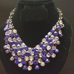Blue bib necklace NWOT Blue bib necklace is an amazing addition to a wardrobe. This is two shades of blue.  Necklace can be dressed up or down. This would be a perfect Mother's Day gift. Earrings sold separately. Smoke free home. Jewelry Necklaces