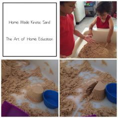 Kinetic Sand (Moon Sand), make your own with just two ingredients. Sand and Dimethicone (Silicon gel). http://theartofhomeeducation.com
