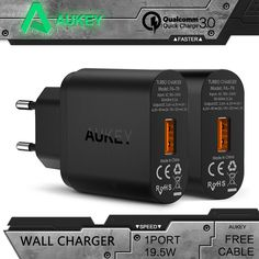 Aukey Quick Charge 3.0 Wall Charger EU/US USB Charger Mini Auto Travel Charger For iPhone Motorola HTC Google Lenovo Xiaomi mi5