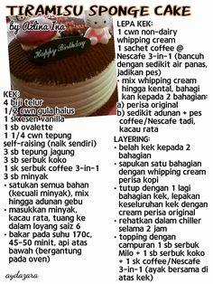 Tiramisu Sponge Cake Cake Receipe, Tiramisu Recipe, Layer Cake Recipes, Pancake Cupcakes, Cupcake Cakes, Malay Cake, Resep Cake, Dark Chocolate Brownies, Cake Bars