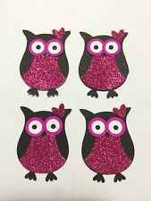 4x STAMPIN UP Owls Punchies PINK GLITTER!cardmaking scrapbooking craft Cardstock
