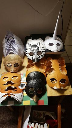 Lioness masks. Hand made, hand painted, paper mache masks. Thanks for looking