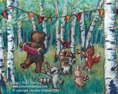 Woodland Forest Party: Kids room and Nursery Decor art print; bear, raccoon, fox, bunny, squirrel; musical, vintage inspired nursery decor by JennyDaleDesigns on Etsy