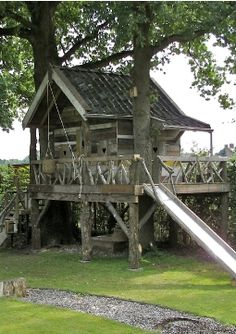 treehouse / cabin (with slide) Outdoor Games, Outdoor Play, Outdoor Living, Playhouse Outdoor, Wooden Playhouse, Fairy Houses, Play Houses, Treehouse Cabins, Outside Activities