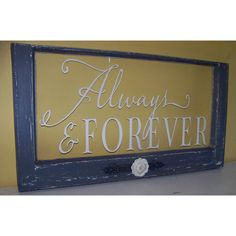 Always and Forever dark grey and white vintage repurposed window wedding gift. $96.00, via Etsy.