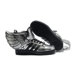 JS Women's adidas Originals Jeremy Scott Wings 2.0 Shoes - Silver Black