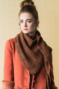 """The Agatha Shawl knitting pattern by Mone Dräger incorporates two stitch patterns: a zigzag motif across the side edge and small motif """"spots"""" throughout the main striped garter-stitch pattern. Fall Knitting Patterns, Shawl Patterns, Loom Knitting, Knitting Designs, Stitch Patterns, Learn How To Knit, How To Start Knitting, Shawl Cardigan, Garter Stitch"""