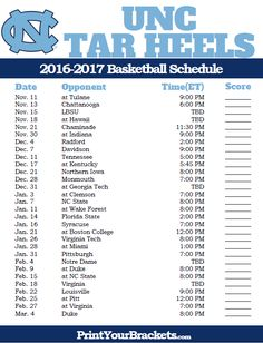 North Carolina Tar Heels 2016-2017 College Basketball Schedule