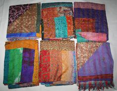 "Indian Vintage Silk Sari Scarf Reversible Patchwork Women/'s Wraps Stole 76/"" x20/"""