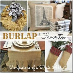 readers favorites fun amp easy projects using burlap, crafts, home decor, wreaths, Fun easy and inexpensive projects using burlap gathered f. Burlap Projects, Burlap Crafts, Easy Projects, Craft Projects, Diy Crafts, Craft Ideas, Burlap Decorations, Christmas Decorations, Burlap Wreaths