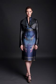 Jennifer Rothwell Leather and Silk Kells Space Mythology Dress and Leather Jacket Irish Fashion, Leather Skirt, Leather Jacket, Mythology, Designers, Silk, Space, Skirts, Jackets