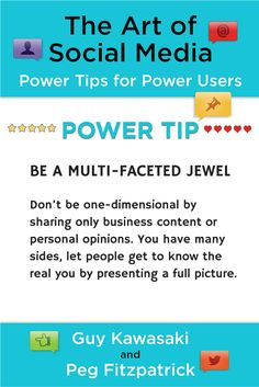 The Art of Social Media Power Tip: Be a multi-faceted jewel. Show different dimensions of your personality to let people get to know you.