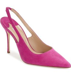 A slingback strap adds a graceful modern touch to this pointy-toe pump set on a slender stiletto heel.
