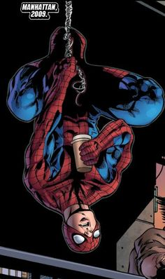Spider-Man with a coffee
