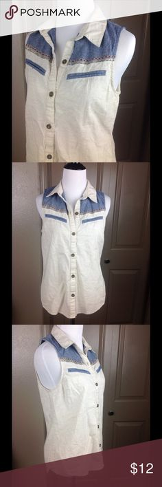 Lush Top Button Down Western Small Embroidered Great condition Ivory/blue button down with gold/red embroidered detailing 100% cotton high/low 24/26 inch length 16 inches across bust Lush Tops Blouses