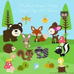 Woodland Animal Friends  Digital Clipart clip by Dragonflytwist, $6.00                                                                                                                                                                                 Mais