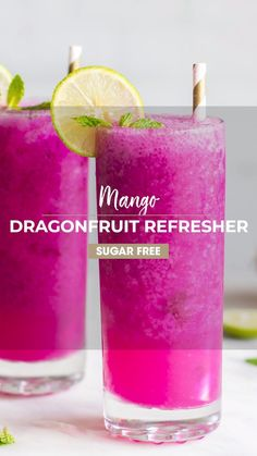 Make a delicious Mango Dragonfruit Refresher at home! Keep it healthy by using just a few healthy ingredients, and save money. I love this drink with soda water, but you can also make a Mango Dragonfr Kid Drinks, Fruity Drinks, Smoothie Drinks, Refreshing Drinks, Fruit Smoothies, Smoothie Recipes, Alcoholic Drinks, Mango Drinks, Juicer Recipes