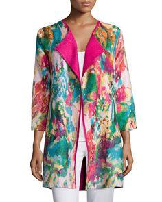 Watercolor+Crinkled+Reversible+Jacket,+Women\'s+by+Berek+at+Neiman+Marcus.