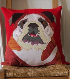 #Bulldog #Cushion - Pillow #Dog by RoobarbTree, £38.00
