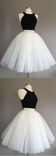 simple tulle two pieces short prom dress, cute homecoming dress