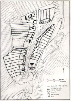Diagram showing plan of Wharram Percy, abandoned medieval villages