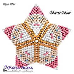 TUTORIAL SANTA 3D PEYOTE STAR + Basic Instructions Little 3D Peyote Star This beading pattern provides a colour diagram and text to create the Santa 3D Peyote Star. Included are also the step by step instructions with clear 3D images of how to create a 3D Star in peyote: Little 3D