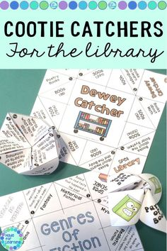 Kids already love to make and play with 'Cootie Catchers' or 'Fortune Tellers' so why not make them educational! These literary catchers review parts of a book, genres of fiction and the Dewey Decimal classification. Easy folding instructions (probably unnecessary) make this a fun center activity. good for early finishers and enrichment also. #dewey #genres #partsofabook #library #cootiecatchers School Library Lessons, Kindergarten Library, School Library Displays, Library Lesson Plans, Elementary School Library, Library Skills, Middle School Libraries, Library Games, Library Activities